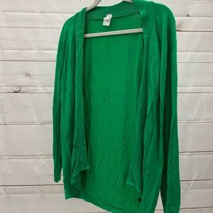 Green open cardigan